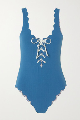 Marysia Swim Palm Springs Reversible Scalloped Lace-up Stretch-crepe Swimsuit