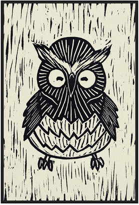 Jonathan Bass Studio Owl Linocut, Decorative Framed Canvas Art