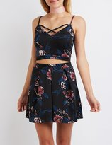 Charlotte Russe Floral Strappy Crop Top
