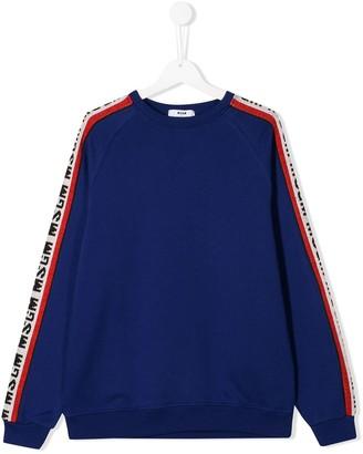 MSGM Kids TEEN logo stripe sweatshirt
