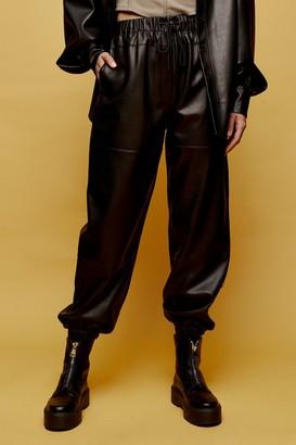 Topshop Womens Black Pu Joggers - Black