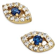 BaubleBar Ivy Cubic Zirconia Evil Eye Stud Earrings in 18K Gold Plated Sterling Silver