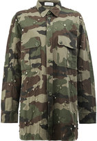 Faith Connexion distressed camouflage print long shirt - women - Polyester/Brass/glass/Cotton - XS