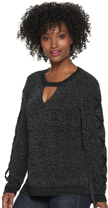 Rock & Republic Women's Lace Up Sleeve Crewneck Sweater