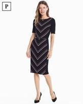 White House Black Market Petite Elbow Sleeve Striped Knit Sheath Dress