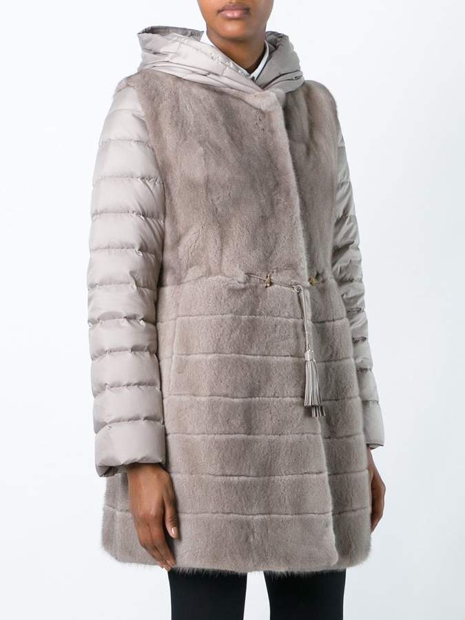 Liska mink fur hooded puffer coat