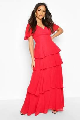 boohoo Dobby Chiffon Ruffle Maxi Dress