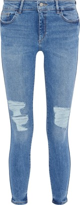 DL1961 Emma Distressed Low-rise Skinny Jeans