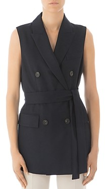 Peserico Belted Double-Breasted Virgin Wool Vest