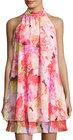 Eliza J-eliza j halterneck floralprint doublelayer dress pink pattern