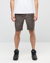 Asos Chino Shorts in Oil Wash with Raw Edge In Dark Brown