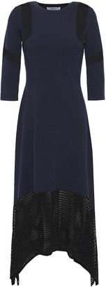 Bailey 44 Paneled Two-tone Open And Stretch-knit Midi Dress