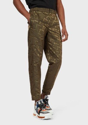 Emporio Armani Nylon Trousers With Jacquard Lettering