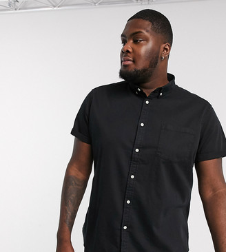 Asos DESIGN Plus Organic stretch slim denim shirt in black