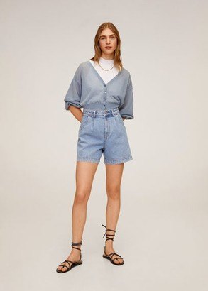 MANGO High-waist shorts light blue - 8 - Women