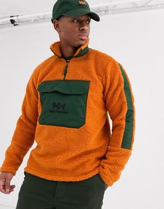 Helly Hansen Yu 1/2 zip borg fleece in orange/khaki