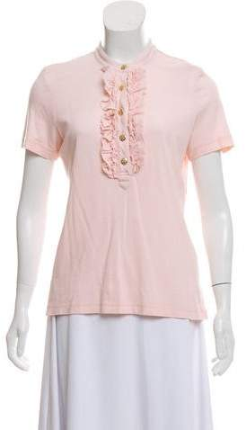 Tory Burch Short Sleeve Ruffle-Trimmed Top