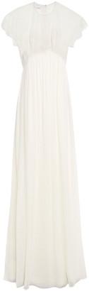 Giambattista Valli Lace-paneled Gathered Silk Crepe De Chine Gown