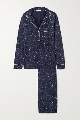 Eberjey Gisele Piped Printed Stretch-modal Pajama Set - Navy