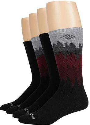 Columbia Cascades Wool Crew 4-Pack (Black/Black/Black/Black) Men's Crew Cut Socks Shoes