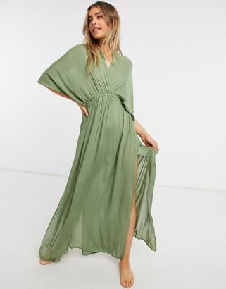 ASOS DESIGN drape maxi beach dress in khaki