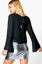Boohoo Holly Woven Tie Back Top