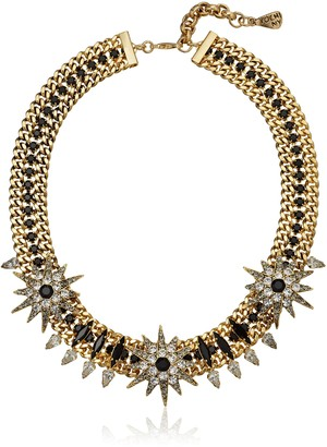 Yochi Antique Gold Spiky with Trio Star Statement Necklace