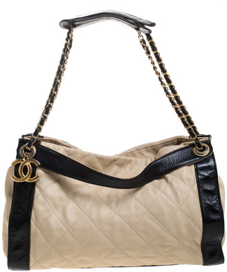 Chanel Beige/Black Quilted Leather Chain Tote