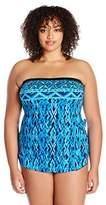 Maxine Of Hollywood Women's Tattoo Tribal Bandeau Sarong One Piece Swimsuit with Removable Straps