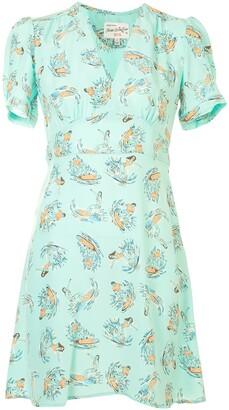 HVN Paula surf-print mini dress