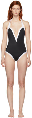 Balmain Black and White Low-Necked One-Piece Swimsuit