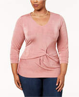 NY Collection Plus Size Twist-Front Top