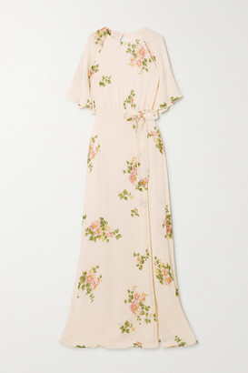 Reformation Pansy Open-back Belted Floral-print Georgette Maxi Dress - White