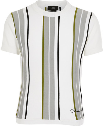 River Island Boys white stripe Prolific knitted top