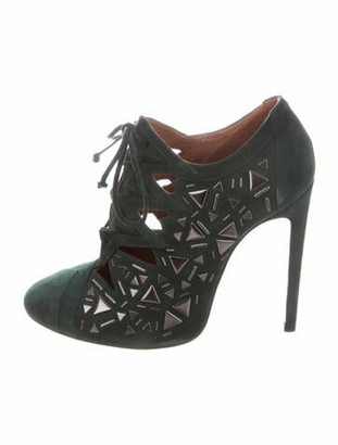 Alaia Suede Studded Accents Lace-Up Boots Green