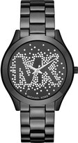 MICHAEL Michael Kors 42mm Slim Runway Glitz Bracelet Watch, Black