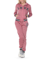 Stanzino Pink 'Love' Varsity-Stripe Sweatsuit