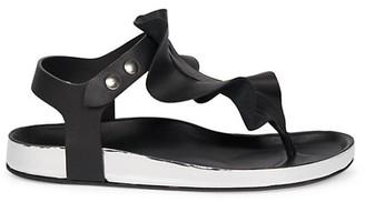 Isabel Marant Isele Ruffle Leather Thong Sandals