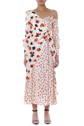 Self-Portrait Self Portrait Red & Ivory Satin Flower Long Dress
