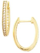 Jude Frances 18k Yellow Gold Oval Pave Diamond Hoop Earrings