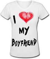 Boyfriend Shop For You I Love My Bf V Neck Short Sleeves Clothing For Youth's T Shirts 80s