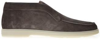 Santoni Loafers In Grey Suede