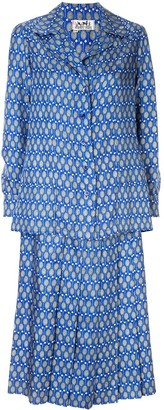Pre-Owned Tennis Print Skirt Suit