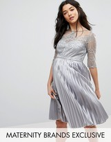 Chi Chi London Maternity Lace Embroidered Bodice Dress With Pleated Skirt