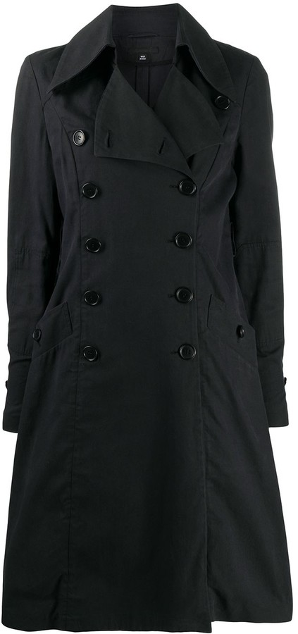 Helmut Lang Pre-Owned 1990s Ruffled Detail Double-Breasted Coat