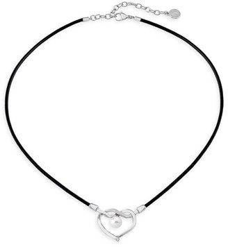 Majorica Stainless Steel, Leather & 8MM White Round Man-Made Pearl Heart Pendant Necklace