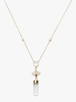 Jacquie Aiche Moonstone And Aquamarine Bar Triple Step Necklace