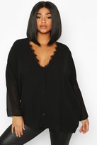 boohoo Plus Lace Trim Long Sleeve Blouse
