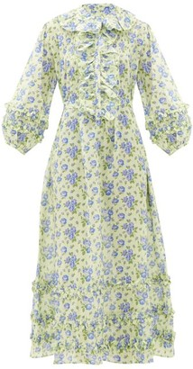Evi Grintela English Rose Floral-print Ruffles Cotton Dress - Blue Print