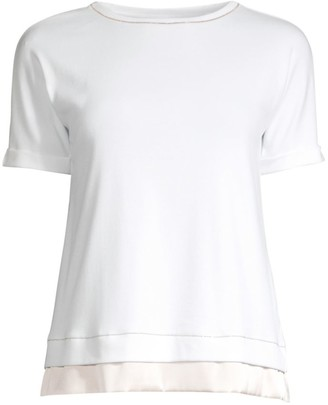 Peserico Rolled Cuff Layered Hem Tee